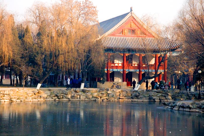 Beijing -The Frozen Lake at Peking University