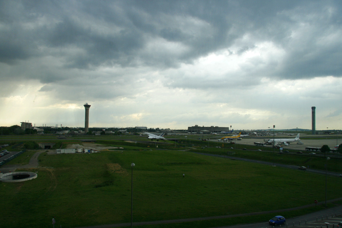 CDG airport storm
