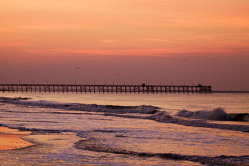 Oak Island Pier at sunrise
