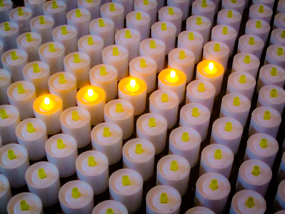 Lighting a Candle in the Cathederal - Barcelona