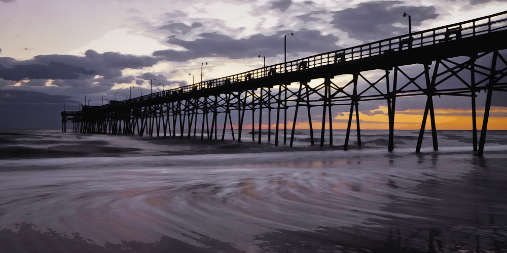 Oak Island Pier Watercolor