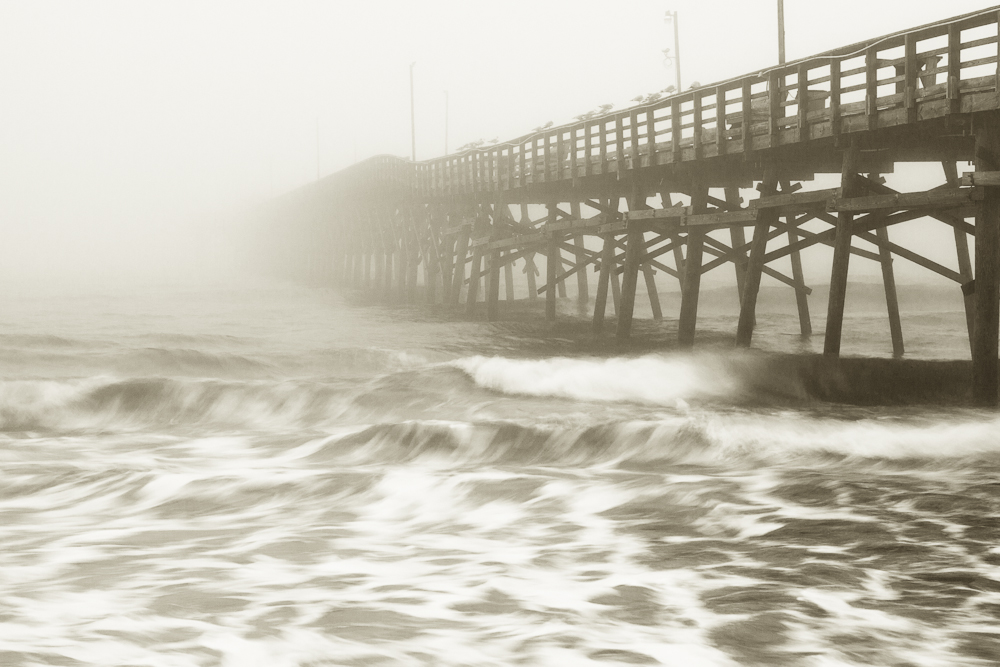 Ocean Crest Pier on a foggy morning.