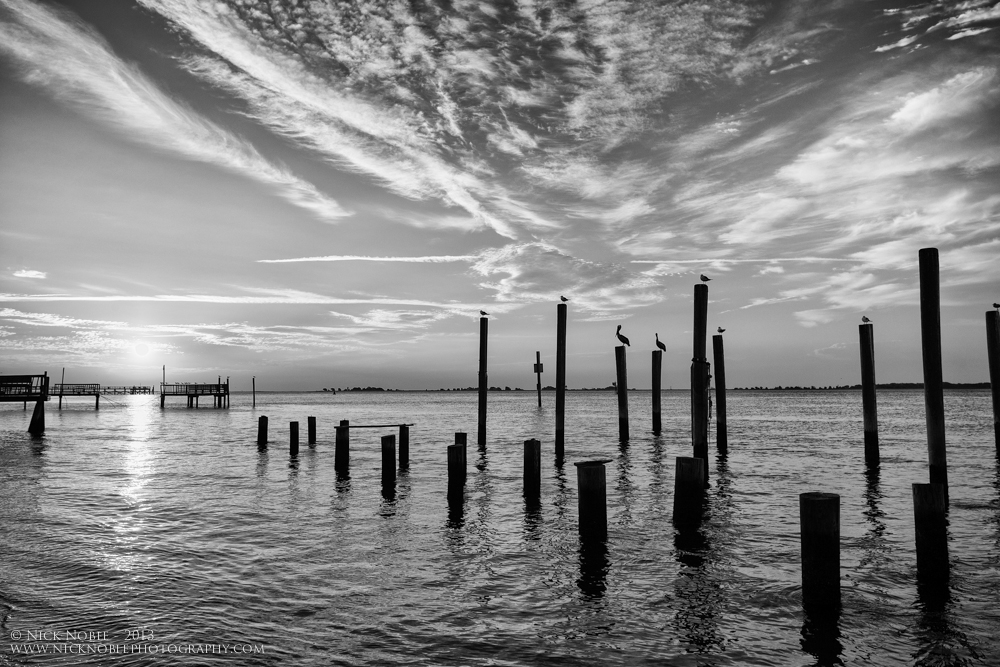 Southport Sunrise on the Cape Fear River in BW