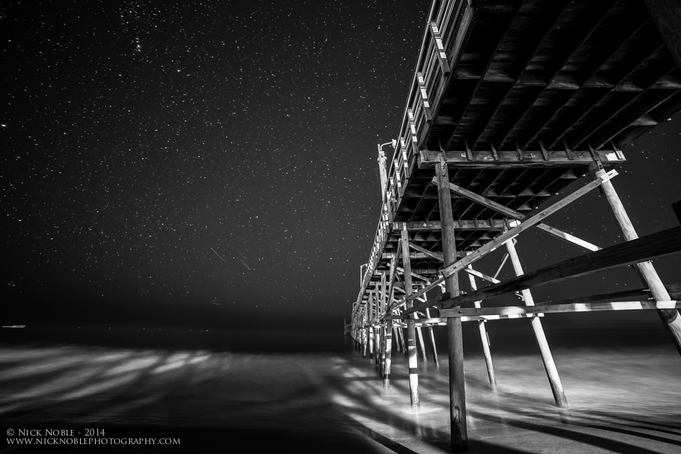 Oak Island Pier at night